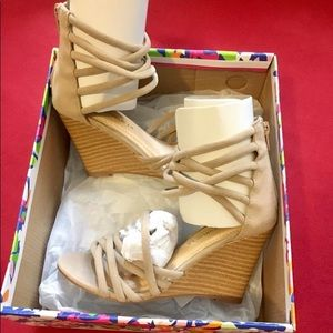 Nude Suede Caged Wedges